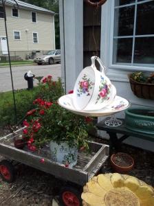 a teacup birdfeeder